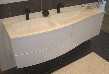Doppelwaschtisch mit unterschrank weiß  Burgbad Sinea 1.0 Doppelwaschtisch mit Unterschrank 1610mm, Weiß ...