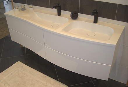 burgbad sinea 1 0 doppelwaschbecken mit unterschrank 1610mm sand hochglanz wtu161drf1769. Black Bedroom Furniture Sets. Home Design Ideas