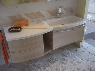 burgbad sinea 1 0 waschtisch mit unterschrank 160 5cm version rechts lichtgrau matt. Black Bedroom Furniture Sets. Home Design Ideas