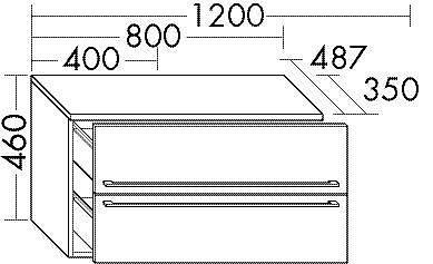 burgbad bel unterschrank 80x35x46cm mit 2 ausz gen eiche dekor dunkel griffleiste. Black Bedroom Furniture Sets. Home Design Ideas