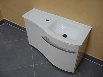 Waschbecken mit unterschrank rund  Burgbad Sinea 1.0 Glas-Waschbecken & Unterschrank für Gästebad ...